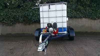 Water Trailer bowser tanker tank mobile jet wash With 13HP Honda pressure washer