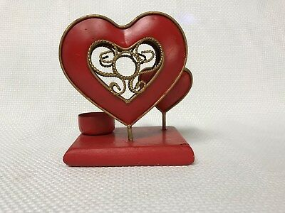 Vintage Wood and Metal Red Heart Tea Light Candle Holder Valentine