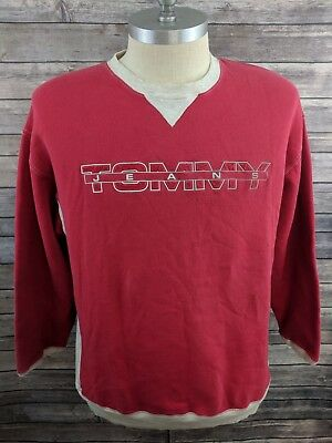 VTG 90s Tommy Hilfiger Jeans Spell Out Mens Sweater Pullover Crew Neck Red XL