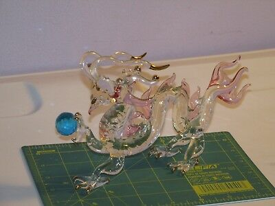 Stunning Vintage Shabby Yet Chic Asian Crystal Gilded Dragon Figurine