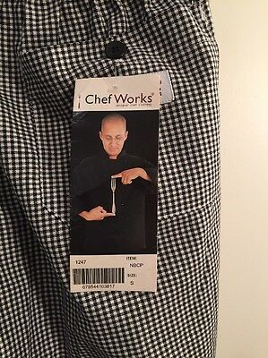 New Chef Works Black & White check Chef pants Baggy 3 pockets Poly/cotton Sze S