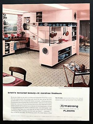 1956 Vintage Print Ad ARMSTRONG FLOORS Pink Kitchen Mid Century Style 50's