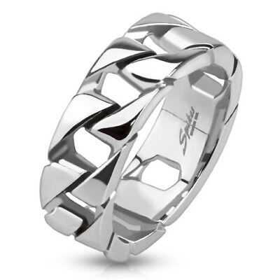 316L Stainless steel Cuban Link Chain Band Ring, 7mm wide, combined shipping