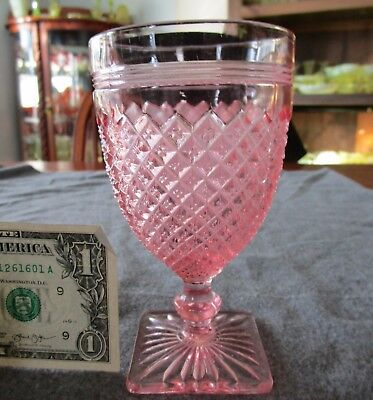 Vintage Anchor Hocking Pink Depression Miss America 10 Ounce Water Goblet
