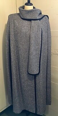 Classic Vintage Alorna Houndstooth Black/White Long Wool Cape L/XL