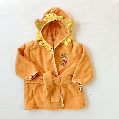 Unisex Tiny Tillia Orange Lion Tie Front Bathrobe 0-9 Months