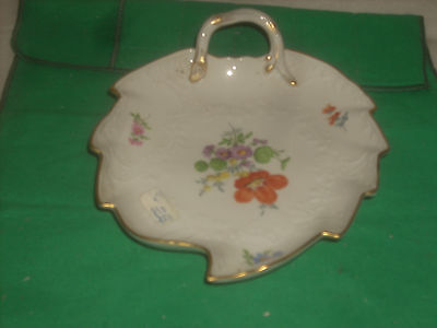 Meissen hand painted fine china 1- Leaf Dish 8x6 new perfect condi