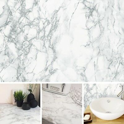 NEW DIY Kitchen Worktop White Marble Vinyl Cover Self Adhesive Sticky Back Wrap