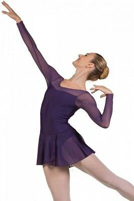 (Prune, Small) - Ballet Rosa Francesca Long Sleeve Ladies Leotard with Skirt
