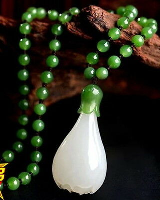 Hand Carved Natural White Jade Pendent Green Nephrite Beads Women's Necklace N18