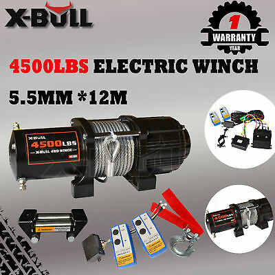 X-BULL 12V 4500LBS /2041kg Electric Winch Steel Cable 2 Remote Wireless ATV 4WD