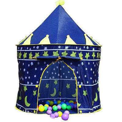 Blue Kids Pop Up Castle Play Tent Toy Fairy Play House Indoor Outdoor Funny Tent