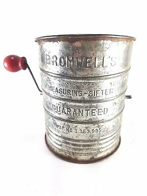 Bromwell's Measuring Flour Sifter Vintage Crank Red Wood Handle  3 Cup
