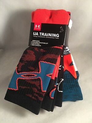 3 Pair Under Armour Kids Crew Socks Shoe Size 4Y-8Y Teal Blue Black $19 Gift L7