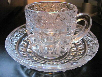 EAPG ca. 1880's Clear - Daisy Band Cup & Saucer Set - Excellent Condition