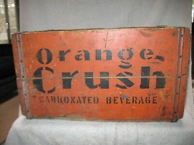 Very Old, Vintage, Orange Crush Wooden Crate with 24 Full 1940's Bottles