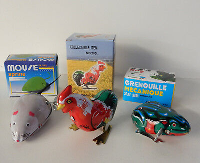Tin Clockwork Mouse Rooster Frog Set Of 3 Wind Up To Hop Bounce & Scurry