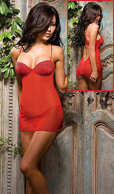 Dreamgirl 7081 Red Baby Doll Chemise And Thong Sexy Lingerie Last Large NEW USA