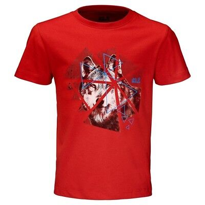 (Size 164 (13-14 Years Old) US, FIERY Red) - Jack Wolfskin Boys Wolf T-Shirt