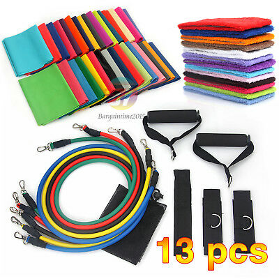 13Pcs Latex Yoga Strap Resistance Bands Exercise Home Gym Tube Fitness Elastic