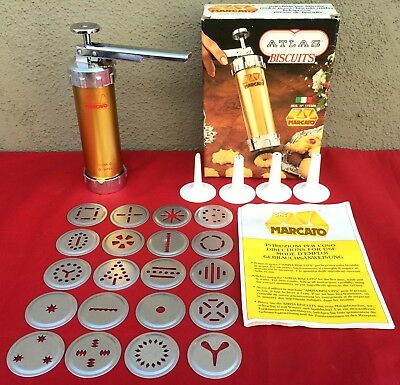 Vintage Marcato Italy Atlas Biscuits Maker Cookie Press Complete 20 Discs 4 Tips
