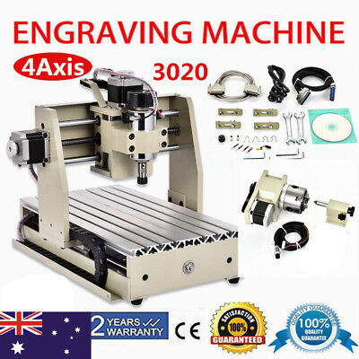 4AXIS CNC Router 3020 Engraver Milling Carving Engraving Machine 3D Cutter MACH3