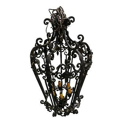 19th century Spanish Revival Wrought Iron Lantern Cage Chandelier
