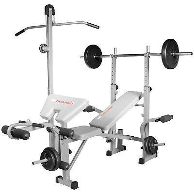 Multifunktion Hantelbank Trainingsbank verstellbar mit Latzug Arm- & Beincurl