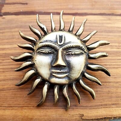 Rustic Cast Brass Antique Style SUN shining Logo Shield Monogram Multi use #21