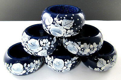 Set Of 6 Wooden Hand Painted Napkin Rings (2 Set Available ) (E45)