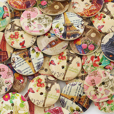 EG_ 50pcs  Wholesale Tower Flower 2 Holes Wooden Buttons Sewing DIY Craft Clothi