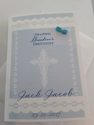 Personalised Christening, Baptism Card New Baby Blue Grandson Any Name Any Date