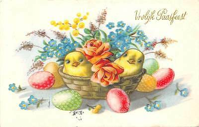 Happy Easter: Vrolijk Paasfeest, forget-me-not, chicken baby, basket, eggs 1956