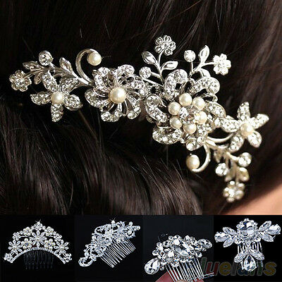 EG_ Shiny Flower Crystal Pearls Hair Comb Womens Bridal Wedding Hair Clip Jewelr