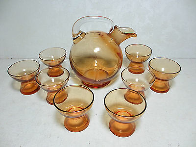 Vintage Amber Cambridge Elegant Depression Glass Ball Decanter & 8 Tiny Cups