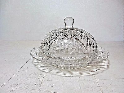 Round Butter Dish & Lid Hocking Glass Early American Prescut Clear Pineapple
