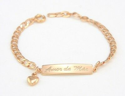 Lovely Baby Kids Boys Girls 18k Gold Plated Link Chain Bracelets with Plate