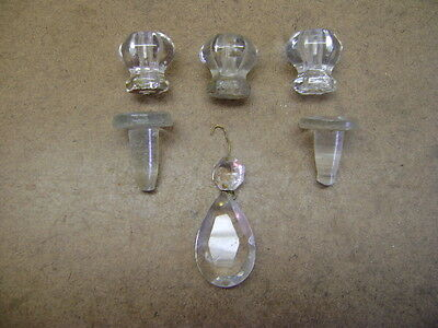 Glass Lot 3 Antique Glass Drawer Pulls 2 Glass Stoppers & Chandelier Piece