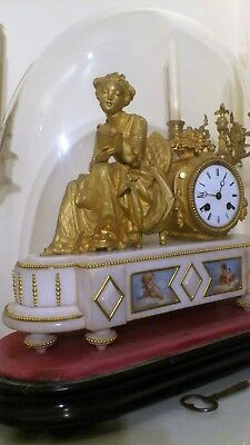 Antique French Ormolu and White Stone Figural Mantel Clock, Base and Glass Dome.