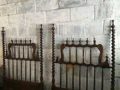 Antique TWO SINGLE BED Wooden CARVED  Head BOARD& FOOT BOARD