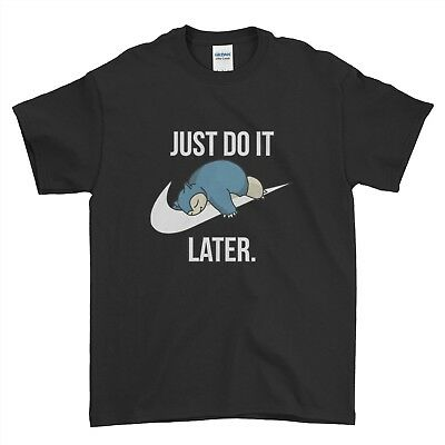 Just Do It Later Quote Lazy Funny Slogan Cartoon Boys Men T Shirt Top Tee