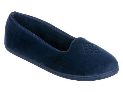 Dearfoams Women's Micro Velour Embroidered Closed Back Slippers - Indoor/Outdoor