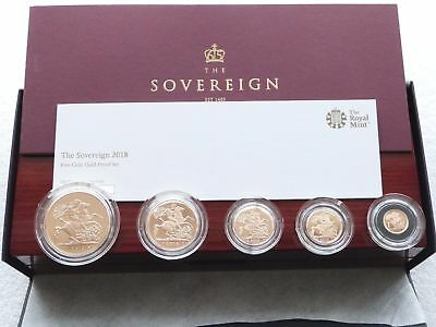 2018 British Royal Mint Gold Proof Sovereign 5 Coin Set - Privy Mark