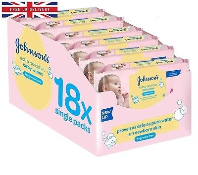 Johnson's Baby Extra Sensitive Fragrance Free Wipes -Pack of 18, Total 1008 Wipe