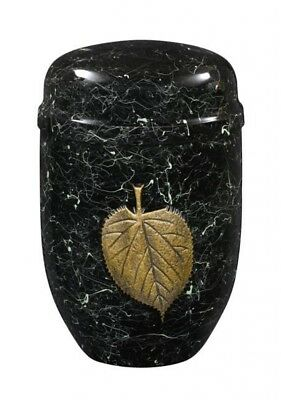 Purley Black Marble Gold Leaf Cremation Ashes Urn - UU150013C