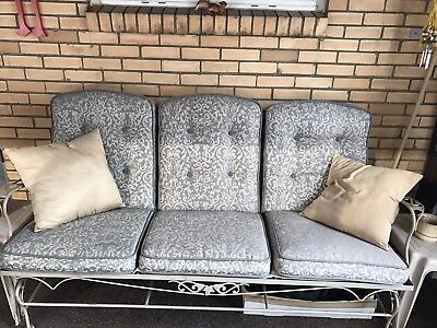 VINTAGE WROUGHT IRON SOFA PATIO SET VERY GOOD CONDITION! All Gliders!