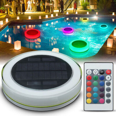 Solar RGB Underwater Lamp LED SPA Pond Swimming Pool Floating Light +Remote IP68