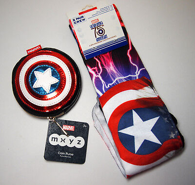 New 2-Pair Captain America Crew Socks & Disney Store Exclusive Round Coin Purse