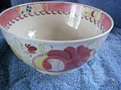 """Early 6 1/2"""" Bowl Gaudy Dutch Single Rose Pearl Ware Hand Painted Dinnerware"""