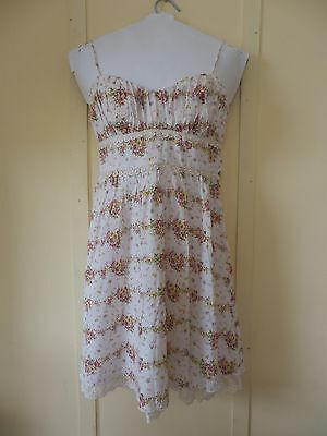 Floral Rose On White Spaghetti Strap Sweetheart Bow & Lace Dress Size S 3